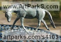 Bronze Horses Small, for Indoors and Inside Display Statues statuettes Sculptures figurines commissions commemoratives sculpture by Jacqueline Billington (ne Warren) titled: 'Andalusian Stallion (bronze Trotting Beautiful Grey Indoor statuette)'