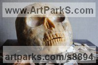 Bronze Figurative Abstract Modern or Contemporary Sculptures Statues statuary statuettes figurines sculpture by Jacques Cassiman titled: 'Anthropos (Macabre Skull sculpture statue)'