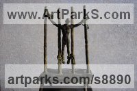 Bronze Nudes / Male sculpture by Jacques Cassiman titled: 'Crucifixion (Cruel Torture Bronze sculpture statue)'