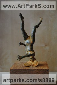 Bronze Stylised Nude statue sculpture statuette ornament sculpture by Jacques Cassiman titled: 'Fall (FallingPlunging nude Woman sculpture statuette)'