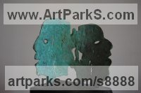 Bronze Couples or Group sculpture by Jacques Cassiman titled: 'Separation (Contemporary abstract Face sculptures)'