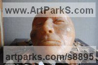 Bronze Small / Little Figurative sculpture / statuette / statuary / ornament / figurine sculpture by Jacques Cassiman titled: 'Sleep (Man`s Face bronze sculpture statue)'