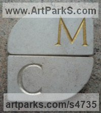 Natural stone Carved and Engraved Lettering Writing Inscriptions Poems Quotations Carving Panels sculpture by James Bayliss titled: 'Lettered Coasters (Affordable Carved stone Mats)'