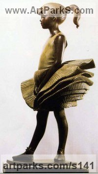 Bronze Resin Children Child Babies Infants Toddlers Kids sculpture statuettes figurines sculpture by sculptor James Butler titled: 'Young Dancer with Tiered Skirt'