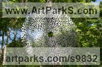 Stainless steel Garden Or Yard / Outside and Outdoor sculpture by James Jones titled: 'Flower of Life (Suspended Round Contemporary sculpture)'