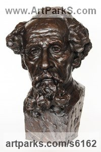 Painted plaster polymer Literary and Musical Characters sculpture by James Matthews titled: 'Charles Dickens (Portrait Face Head Bust sculptures statues statuettes)'