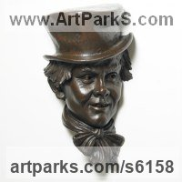 Painted plaster polymer Literary and Musical Characters sculpture by James Matthews titled: 'The Artful Dodger (Dickens Character Portrait Commission Bust statue)'