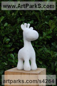 Portuguese Marble Wild Animals and Wild Life sculpture by James Sutton titled: 'Toy IV (Small Baby Giraffe marble Stylised sculpture/statuette/statue)'