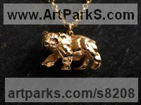 Sterling Silver- Vermeil gold Plated Miniature Sculptures, statuettes or figurines sculpture by James Veale titled: 'Atlas Bear Necklace - Vermeil'