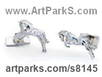 Sterling Silver Horses Small, for Indoors and Inside Display Statues statuettes Sculptures figurines commissions commemoratives sculpture by James Veale titled: 'One Horse Race Cufflinks (Galloping Sterling Solid Silver Gift Present)'