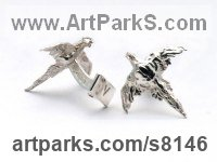Sterling Silver Game Birds including Pheasant Capercaillie Partridge Black Cock Ptarmigan Grouse sculpture by James Veale titled: 'Plucky Pheasant Cufflinks (Silver Flying Gifts Presents Presentations)'