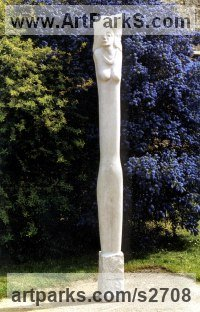 Portland stone Human Form: Abstract sculpture by Jamie Vans titled: 'Pillar (Tall Carved stone female/Woman sculptures/statues)'