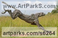 Bronze lost wax Cats Wild and Big Cats sculpture by Jan Sweeney titled: 'Big Landing Cheetah (Lifesize Springing Big Cat statue)'