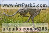 Bronze lost wax Cats Wild and Big Cats sculpture by Jan Sweeney titled: 'Big Turning Cheetah (Running life size Big Cat statue)'