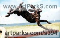 Bronze Small Animal sculpture by Jan Sweeney titled: 'Catch Me (Bronze Running Hare sculptures)'