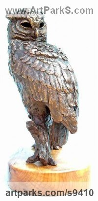 Bronze Wild Bird sculpture by Jan Sweeney titled: 'Eagle Owl (Perched Resting bird of Prey sculpture)'