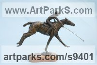 Bronze Horses Small, for Indoors and Inside Display Statues statuettes Sculptures figurines commissions commemoratives sculpture by Jan Sweeney titled: 'Going for it (Small Polo Pony and Player Bronze statue)'