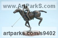 Bronze Horses Small, for Indoors and Inside Display Statues statuettes Sculptures figurines commissions commemoratives sculpture by Jan Sweeney titled: 'Nearside Backhand (Polo Pony and Player Bronze sculpture)'