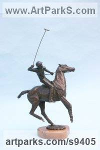 Bronze Polo Pony and Pony sculpture / statue / statuette / figurine / ornament Portraits Commissions Memorials sculpture by Jan Sweeney titled: 'Offside Forehand'