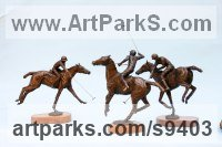 Bronze Polo Pony and Pony sculpture / statue / statuette / figurine / ornament Portraits Commissions Memorials sculpture by Jan Sweeney titled: 'Polo Group (Players and Ponies Small Bronze sculptures)'