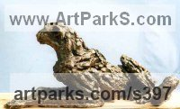 Bronze Small Animal sculpture by Jan Sweeney titled: 'Quiet Moments Day (Resting Cheetah sculptures statue)'