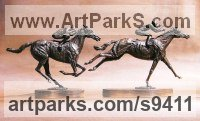 Bronze Horse and Rider / Jockey Sculpture / Equestrian sculpture by Jan Sweeney titled: 'Sure Thing and Flying Finish'