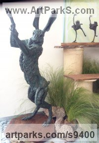 Bronze Hares and Rabbits sculpture by Jan Sweeney titled: 'The Big Hare (Mad March Boxing Bronze sculptures)'