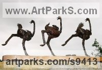 Bronze Wild Bird sculpture by Jan Sweeney titled: 'The Wobble (Small Bronze Running Ostriches sculpture)'