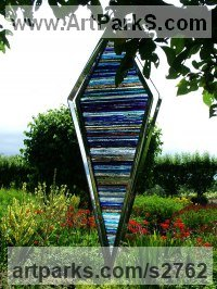 Stainless steel. Stained glass Glass or Acrylic Transparant sculpture by sculptor Jane Bohane titled: 'Blue Daze (Contemporary Modern Outdoor Glass statue)'