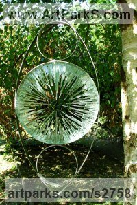 Stainless steel. Stained glass Glass or Acrylic Transparant sculpture by sculptor Jane Bohane titled: 'Threescore (abstract Modern Glass round garden statue)'
