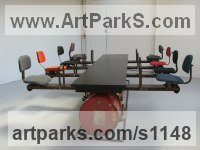 Kinetic or Mobile Sculpture or Statue by sculptor artist Jane Clarke titled: 'Boardroom Table/8 Person See Saw (Modern Kinetic statue)' in Steel,wood, fabric and composite
