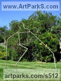 Copper Figurative Abstract Modern or Contemporary sculpture statuary statuettes figurines sculpture by sculptor Jane McAdam Freud titled: 'Earth Man (figurative abstract Yard garden Outdoors sculpture)'
