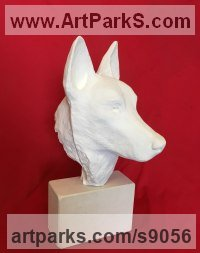 Plaster Dogs sculpture by Jane Robbins titled: 'Dogs Head'