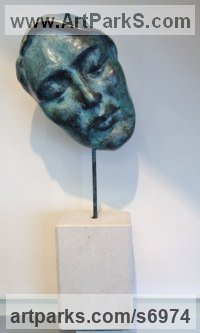 Bronze & stone Contented Happy Relaxed Sculpture or Statue sculpture by Jane Robbins titled: 'Dreamer Plaque Face Mask Mounted statue Portrait sculpture'