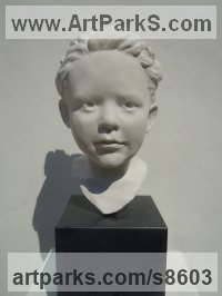 Marble Resin Portrait Sculptures / Commission or Bespoke or Customised sculpture by Jane Robbins titled: 'Young Girl (Head Bust life size statue sculpture)'