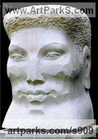 Moleanos stone Male Men Youths Masculine Statues Sculptures statuettes figurines sculpture by Janine Creaye titled: 'Kalari Head (Carved stone Bushman Head Bust Stylised sculpture/statue)'