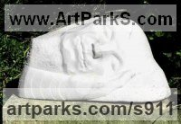 Stylised Heads / Busts Sculpture by sculptor artist Janine Creaye titled: 'Sleeping Gothic/Buddha (Minimalist Stylised stone Head Carving/statue)' in Marble