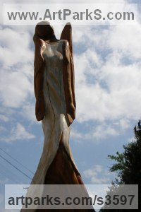 Wood /chery/ Angel sculpture by sculptor János Lukács titled: 'Angel from Chorvaty (Carved Wood female Angel sculptures/statues)'