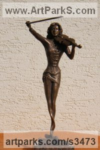 Bronze Musician and Musical sculpture by sculptor János Lukács titled: 'Czinka Panna (Small Indoor Girl Violinist sculptures)'