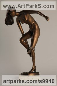 Bronze Semi Nude / Naked Girls Females Women sculpture by J�nos Luk�cs titled: 'Disrobing (little nude Girl Undressing statuette statue)'