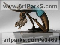 Bronze Semi Nude / Naked Girls Females Women sculpture by sculptor János Lukács titled: 'Gymnast (Small Bronze Beautiful with Ball sculptures)'