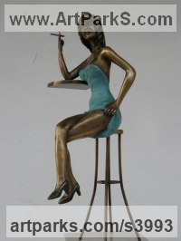 Bronzo Females Women Girls Ladies sculpture statuettes figurines sculpture by sculptor János Lukács titled: 'In the Night Club (Pretty Girl on Bar Stool statuettes)'