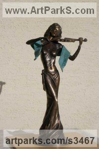 Bronze Stringed Instruments Composers and Musicians Realistic and Abstract sculpture statuettes sculpture by sculptor János Lukács titled: 'Melody (Bronze Little Girl female Violinist statues)'