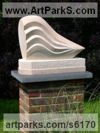 Ancaster Weatherbed Limestone Abstract Contemporary Modern Outdoor Outside Garden / Yard sculpture statuary sculpture by sculptor Jason Mulligan titled: 'From the Ocean Floor (Carved abstract Seawave statue)'