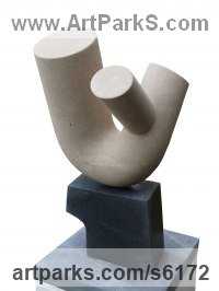 Portland Stone and Irish Blue Limestone Abstract Modern Contemporary Avant Garde Sculptures Statues statuettes figurines statuary both Indoor Or outside sculpture by Jason Mulligan titled: 'Growing up Together (Contemporary stone sculpture)'
