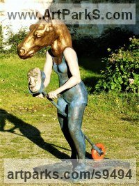 Fibreglass Surrealist sculpture by jasper lyon titled: 'Hobby Horse (Fun Child`s Toy Horse sculpture/statue)'