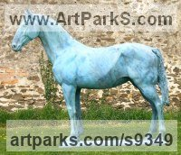Bronze Resin Garden Or Yard / Outside and Outdoor sculpture by jasper lyon titled: 'Horse (Standing Weathered life size Equine sculptures)'
