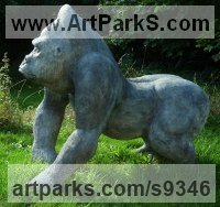 Bronze Resin Garden Or Yard / Outside and Outdoor sculpture by jasper lyon titled: 'OBSERVER (Alpha Male Gorilla Hunting sculpture)'