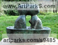 Bronze Nude or Naked Couples or Lovers sculpture by Jasper Lyon titled: 'Rendez-vous � six heures (abstract Couple in Bath statue)'