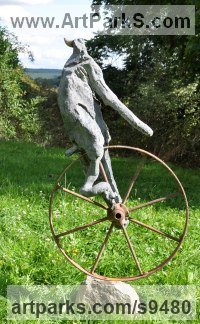 Fibreglass iron stone Recycled Materials / Objets trouvees or Upcycle sculpture Statues statuettes sculpture by Jasper Lyon titled: 'The Journey (abstract Unicyclist garden Yard sculpture)'